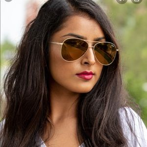 Quay Still Standing Aviator Sunglasses Gold Brown
